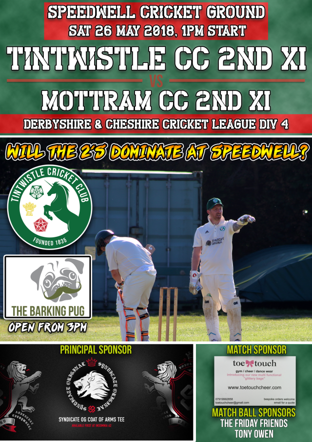 New Senior Match Advert 2018 - 26 May TCC v Mottram 2nd