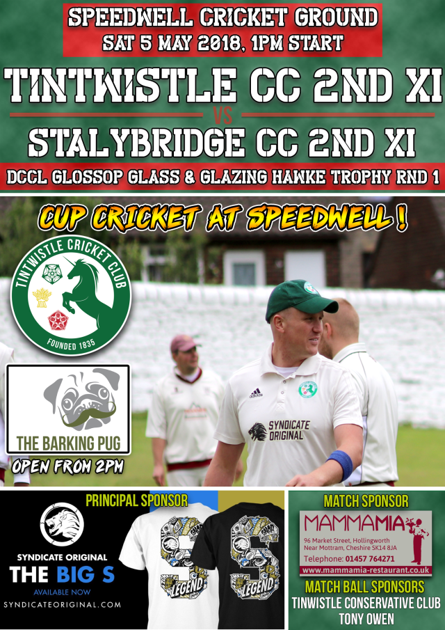 New Senior Match Advert 2018 - 5 May TCC v Stalybridge 2nds